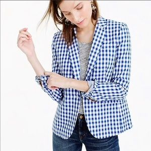 J. Crew Campbell Blazer In Gingham Check Linen